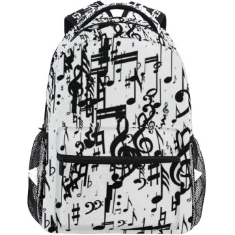 MISCERYリュックサック,白い背景の音符多く,大容量の学生の子供のバックパックの若者の男性と女性は、ファッション性格カスタムパターン旅行バッグ耐久性のあるスポーツアウトドアを
