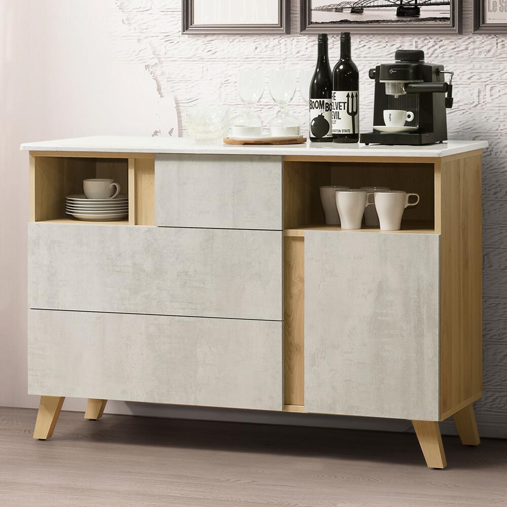 yostyle 格蕾4尺石面餐櫃 碗盤收納櫃 電器櫃 櫥櫃 抽屜櫃 收納櫃 置物櫃 專人配送安裝