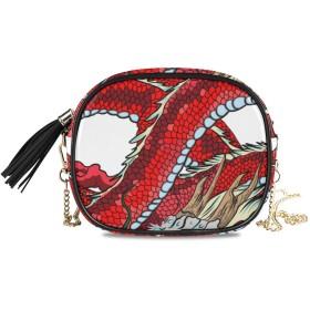 KAPANOU レディース チェーンバッグ,Infinity Red Dragon Circle Isolate On,ミニファッションかわいいデザインショルダーバッグパーソナライズされたカスタムの異なるスタイルの色