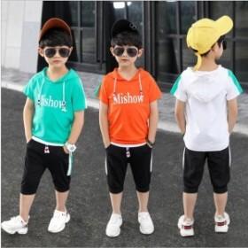 半袖Tシャツフード付きTシャツプルオーバーパーカー子供服夏男の子女の子男児女児キッズ小学生トップスロゴプリントバイカラース