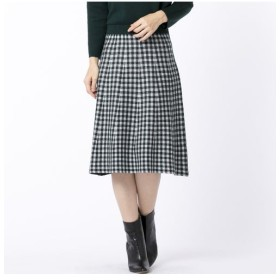 Liliane Burty ECLAT/リリアンビューティ エクラ ブロックチェックと無地のリバーシブルニットスカート グリーン S