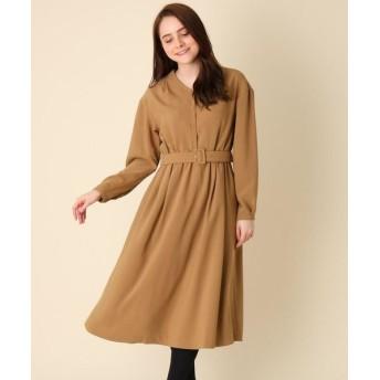 Couture Brooch/クチュールブローチ 【手洗い可】ベルト付きVネックワンピース ベージュ(052) 36(S)