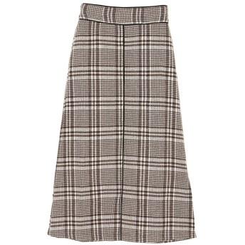 グリーンパークス Green Parks RAY CASSIN チェック×パイピングスカート (Brown)