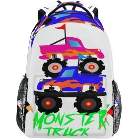MISCERYリュックサック,モンスタートラック漫画ロゴ,大容量の学生の子供のバックパックの若者の男性と女性は、ファッション性格カスタムパターン旅行バッグ耐久性のあるスポーツアウトドアを