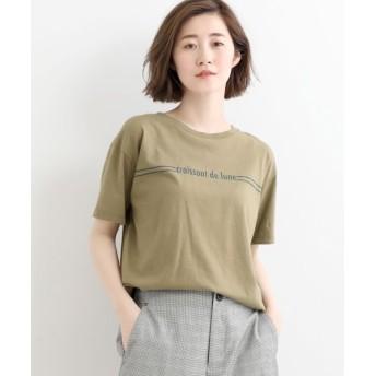 NIMES/ニーム 30コーマ天竺ロゴTシャツ カーキ フリー