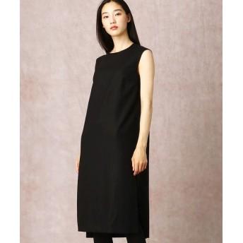 COMME CA/コムサ ストレッチフラノノースリーブドレス ブラック 7号