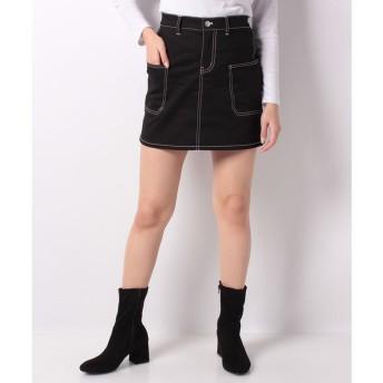 WEGO WEGO/ステッチサイドポケットミニスカート(ブラック)【返品不可商品】