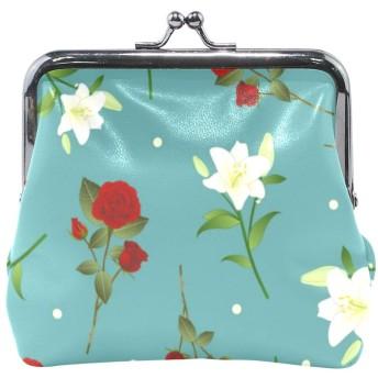 La Rose 小銭入れ 財布 がま口 レディース 花柄 バラ ブルー かわいい 軽量 持ちやすい 多機能 PUレザー 小物入れ ミニポーチ コイン 鍵 カード収納 約幅11.5cmx10.5cm プレゼント