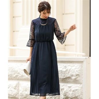 レース&プリーツデザインスカートスタンドカラーワンピースドレス【結婚式。二次会。お呼ばれ。セミフォーマル対応】<大きいサイズ>