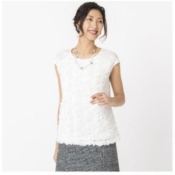 Liliane Burty/リリアンビューティ シフォンフラワー刺繍 フレンチスリーブTシャツ ホワイト LL