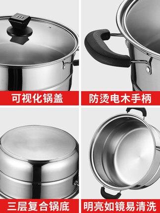 蒸鍋家用不銹鋼三層加厚大號蒸籠饅頭小2三3層蒸煮電磁爐煤氣灶用