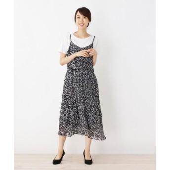 SHOO・LA・RUE/シューラルー Tシャツ×フラワーしわキャミワンピースSET ネイビー(193) 03(L)