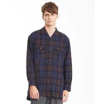 ABAHOUSE/アバハウス モールチェックロングオープンカラーシャツ ブルー系その他1 46