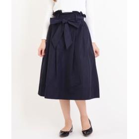 NIMES/ニーム メモリータフタ リボン付スカート ネイビー 0