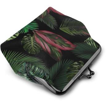 がま口 小銭入れ 熱帯の葉の花のパターン 財布 コインケース レディース 収納バッグ 革 大容量 柔らかい 高級 丸形 軽量 便利 通勤 通学