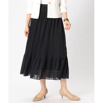 COMME CA ISM/コムサイズム シアー チェック プリーツスカート ネイビー S