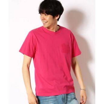 Purple & Yellow/パープルアンドイエロー エンボスロゴ Tシャツ マゼンタ L