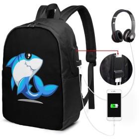 かわいいサメ バッグ 17インチ USB充電ポート付き バックパック 調節可能なショルダーストラップ アウトドアリュック 登山リュック 季節新品 多機能 通学 通勤 出張 旅行用 大容量 黒 メンズ レディース通用