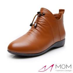 【MOM】真皮頭層牛皮典雅束帶造型尖頭坡跟短靴 卡其