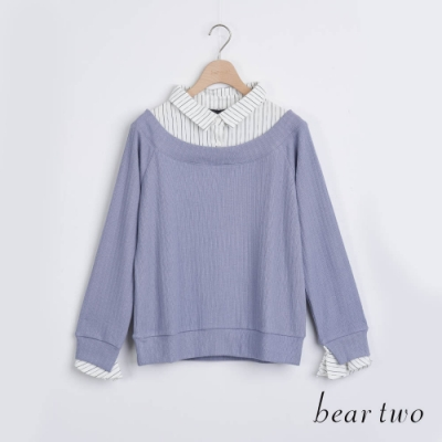 bear two- 學院風假兩件襯衫 - 藍