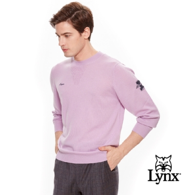 【Lynx Golf】男款羊毛保暖舒適手臂Logo長袖毛衣-粉紫色