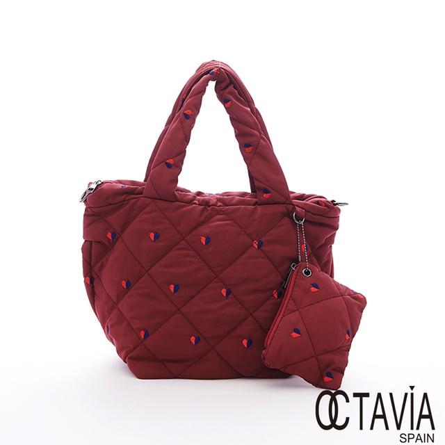 OCTAVIA 8 - 艾媽咪 尼龍鋪棉輕量愛心手提肩斜背三用小拖特包 - 心心紅