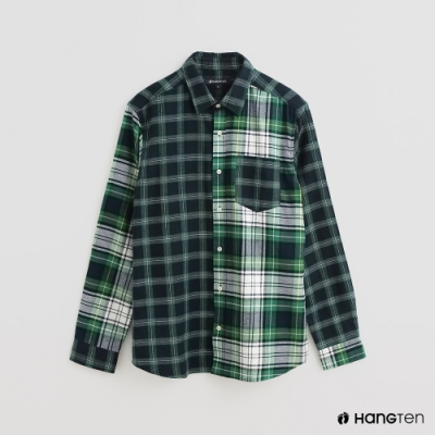 Hang Ten - 男裝 - 雙面配色格紋造型純棉襯衫 - 綠