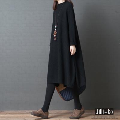 JILLI-KO 韓版寬鬆仿羔羊毛中長版上衣- 黑色