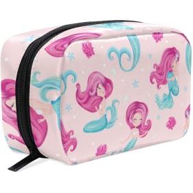 GUKISALA 化粧ポーチ,かわいいリトルマーメイドパターンキッズファッション,大容量コスメケース多機能旅行用高品質収納ケース メイク ブラシ バッグ 化粧バッグ ファッションバッグ