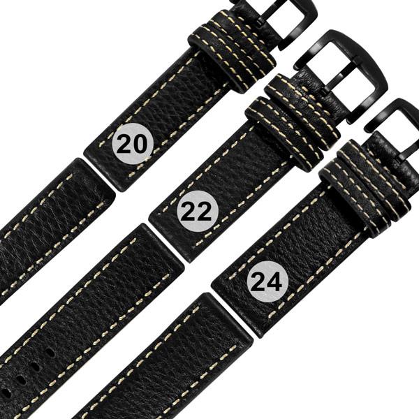 Watchband / 各品牌通用 經典復刻 柔軟 加厚款 真皮錶帶 黑色