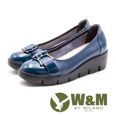 W&M 漆皮亮面 舒適厚底娃娃鞋 女鞋-藍(另有黑)