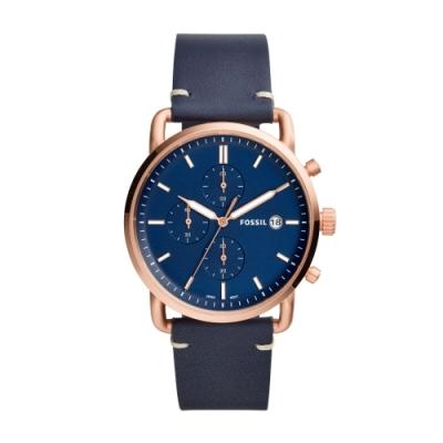 FOSSIL美式休閒玫瑰金三眼皮帶腕錶FS5404