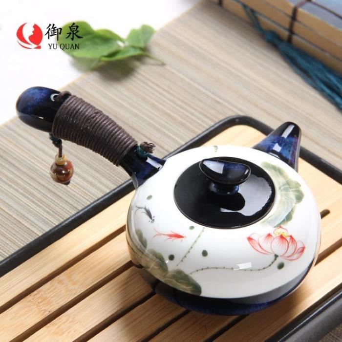 茶壺御泉 手繪荷花陶瓷茶壺 家用窯變小茶壺單壺 功夫茶具手柄側把壺