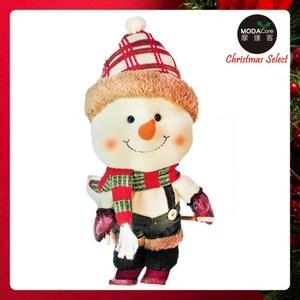 摩達客聖誕大頭雪人玩偶擺飾(紅白毛線聖誕帽款)