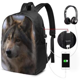 バックパック USB ポート搭載 17インチPC対応 オオカミ46 大容量ビジネスリュック 通勤 通学 出張 旅行 メンズ レディース