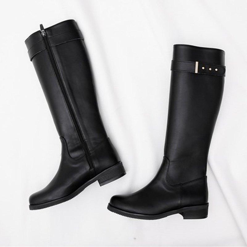 PRE-ORDER韓國人手製 MACMOC ADEL (BLACK) 皮帶扣長筒騎士靴