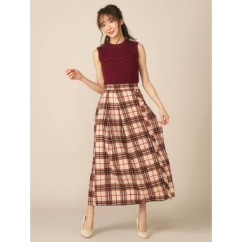 ひざ丈スカート - MIIA チェック柄ラップ風フリンジスカート