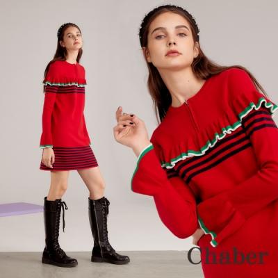 Chaber巧帛 羊毛荷葉拼接針織洋裝(兩色)-嘉年華紅