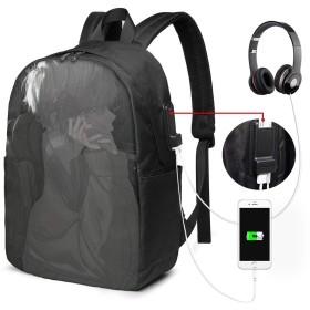 悲しい男 バッグ 17インチ USB充電ポート付き バックパック 調節可能なショルダーストラップ アウトドアリュック 登山リュック 季節新品 多機能 通学 通勤 出張 旅行用 大容量 黒 メンズ レディース通用
