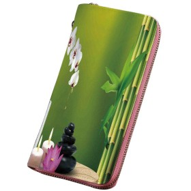 スパの装飾 小銭入れ テーブルオーキッドロック健康的なライフスタイルの竹花石ワックス カード納 取り出しやすい 小銭入れ ラウンドファスナー
