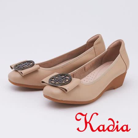 kadia.圓型飾扣楔型厚底真皮跟鞋(9517-30杏色)