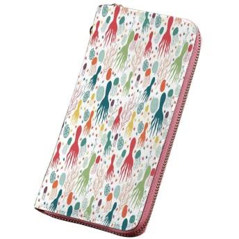 タコ 小銭入れ 海をテーマにした動植物クラゲ貝類カラフルな落書きスタイルデザイン装飾的 シグネチャー メンズ 多色