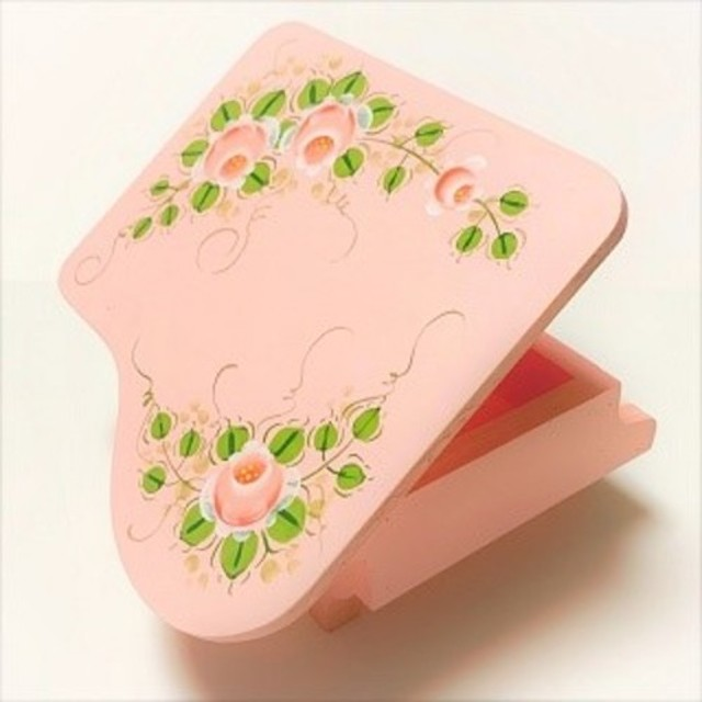 Creema限定 木製 グランドピアノボックス(ピンク) トールペイント