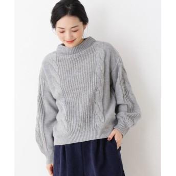 SHOO・LA・RUE/シューラルー 袖ケーブルニット グレー(012) 03(L)
