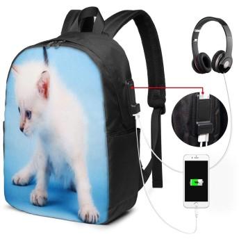 バックパック USB ポート搭載 17インチPC対応 猫84 大容量ビジネスリュック 通勤 通学 出張 旅行 メンズ レディース