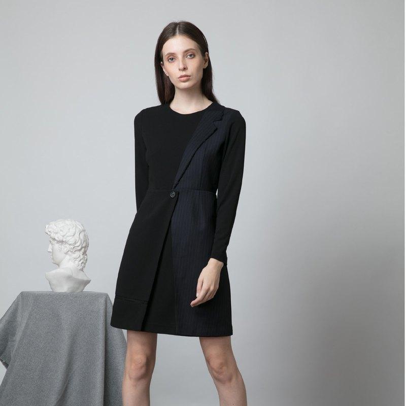 FW19條紋西裝領長袖連身裙-香港原創品牌Lapeewee