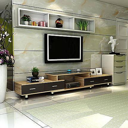 電視櫃茶幾組合現代簡約鋼化玻璃電視機櫃小戶型客廳伸縮地櫃迷你