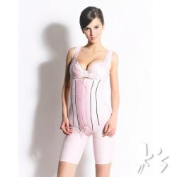 【K's 凱恩絲】「*無罩杯*連身大腿1/2款」有氧蠶絲量身訂製塑身內衣(多國專利認證100%雙面蠶絲布料)