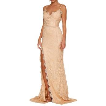 LKJASDHL 女性のノースリーブVネックレースロングマキシドレススプリットドレス弾む滑らかなファッション通気性の花柄プリント (色 : 杏色, サイズ : XL)