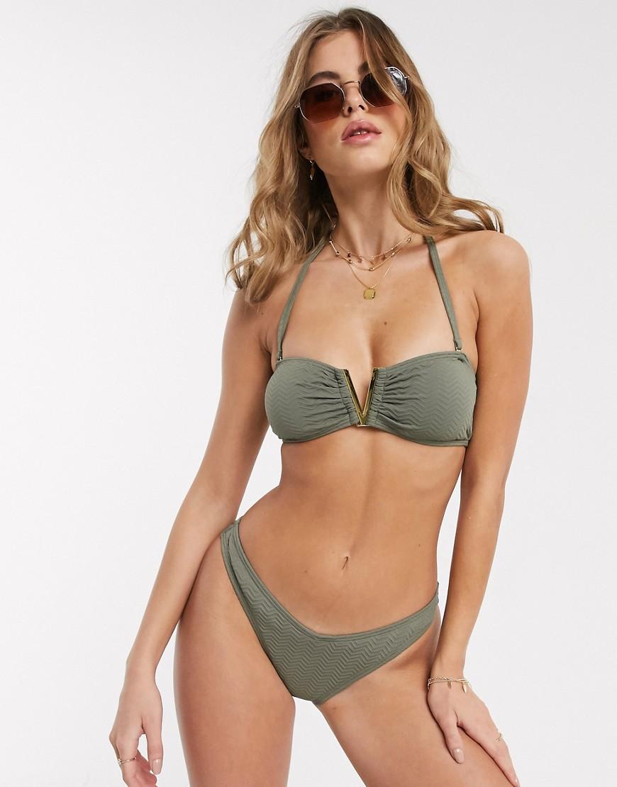 New Look v shape bikini bottoms in khaki-Green
